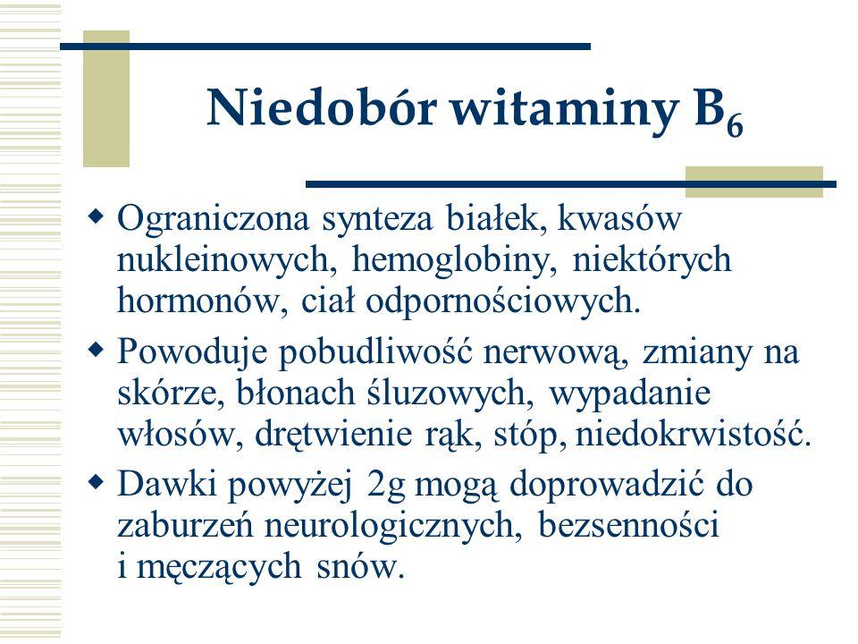 Niedobór witaminy B6 Ograniczona synteza białek, kwasów nukleinowych, hemoglobiny, niektórych hormonów, ciał odpornościowych.