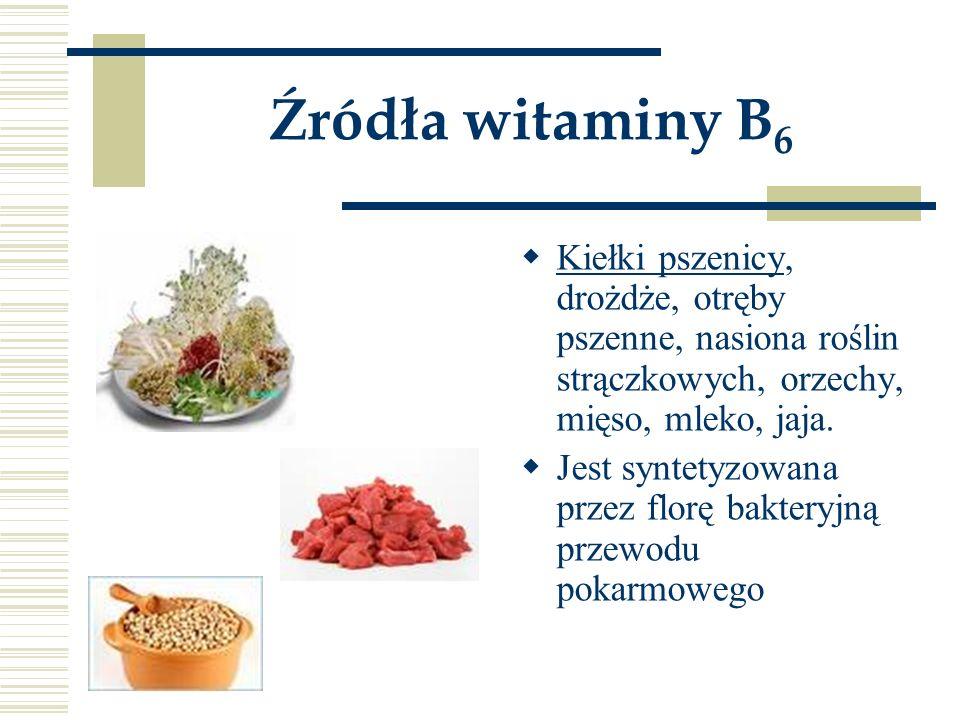Źródła witaminy B6 Kiełki pszenicy, drożdże, otręby pszenne, nasiona roślin strączkowych, orzechy, mięso, mleko, jaja.