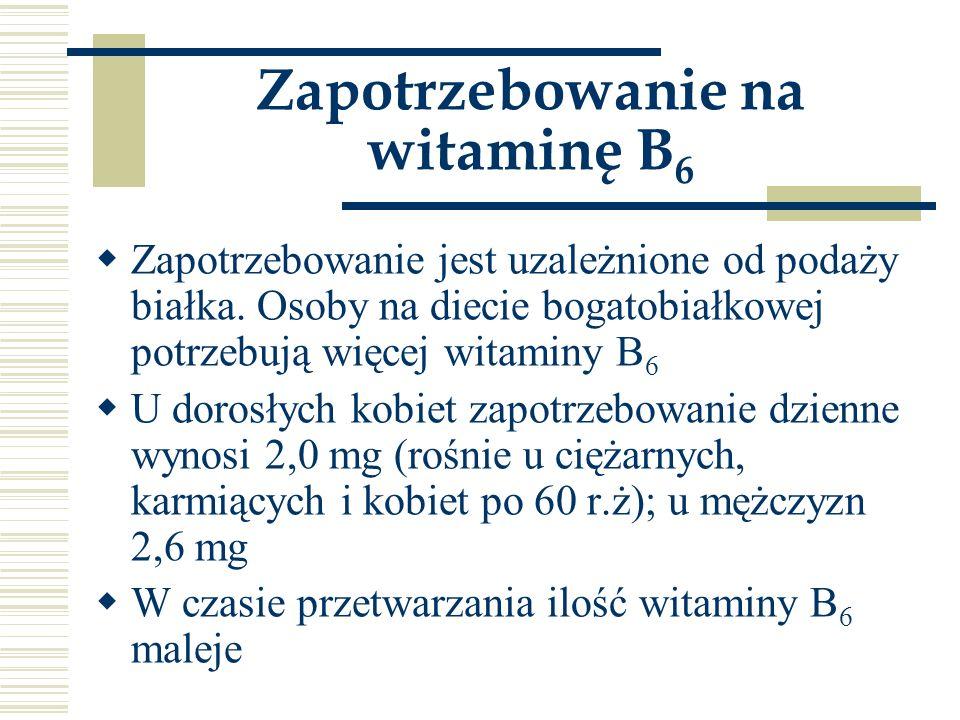 Zapotrzebowanie na witaminę B6