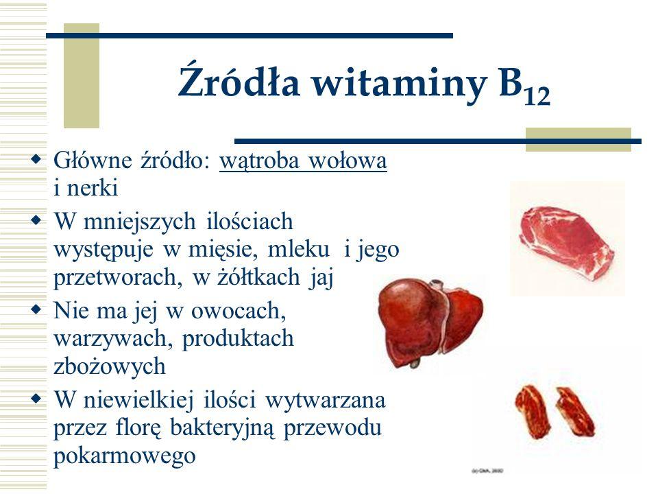 Źródła witaminy B12 Główne źródło: wątroba wołowa i nerki