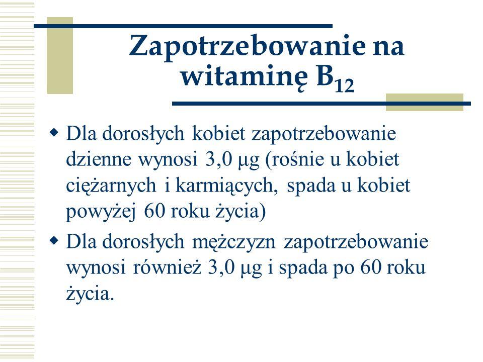Zapotrzebowanie na witaminę B12