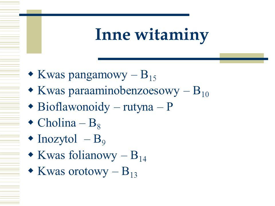 Inne witaminy Kwas pangamowy – B15 Kwas paraaminobenzoesowy – B10