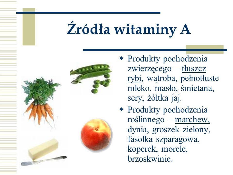 Źródła witaminy A Produkty pochodzenia zwierzęcego – tłuszcz rybi, wątroba, pełnotłuste mleko, masło, śmietana, sery, żółtka jaj.