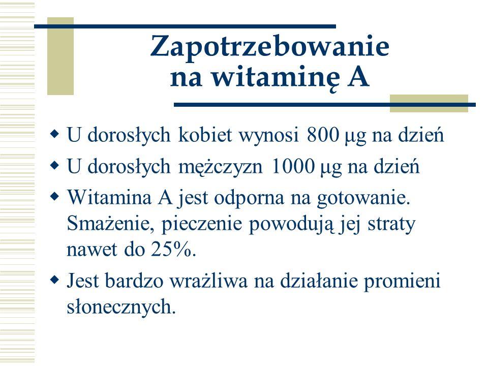 Zapotrzebowanie na witaminę A