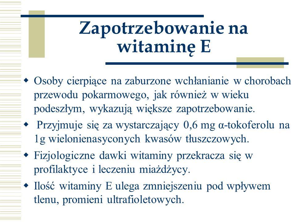 Zapotrzebowanie na witaminę E
