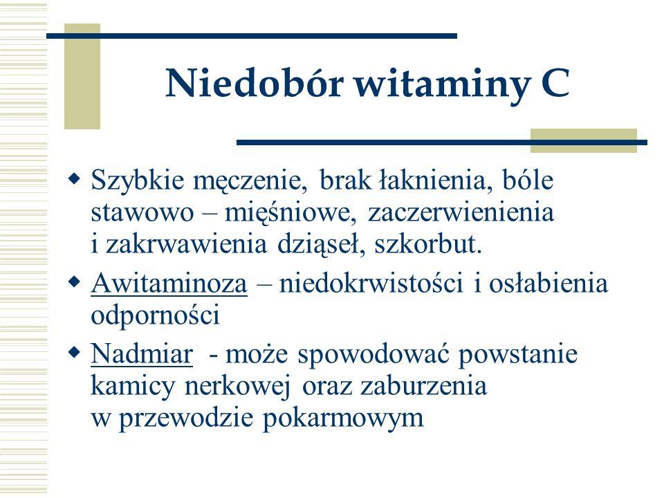 Niedobór witaminy C Szybkie męczenie, brak łaknienia, bóle stawowo – mięśniowe, zaczerwienienia i zakrwawienia dziąseł, szkorbut.