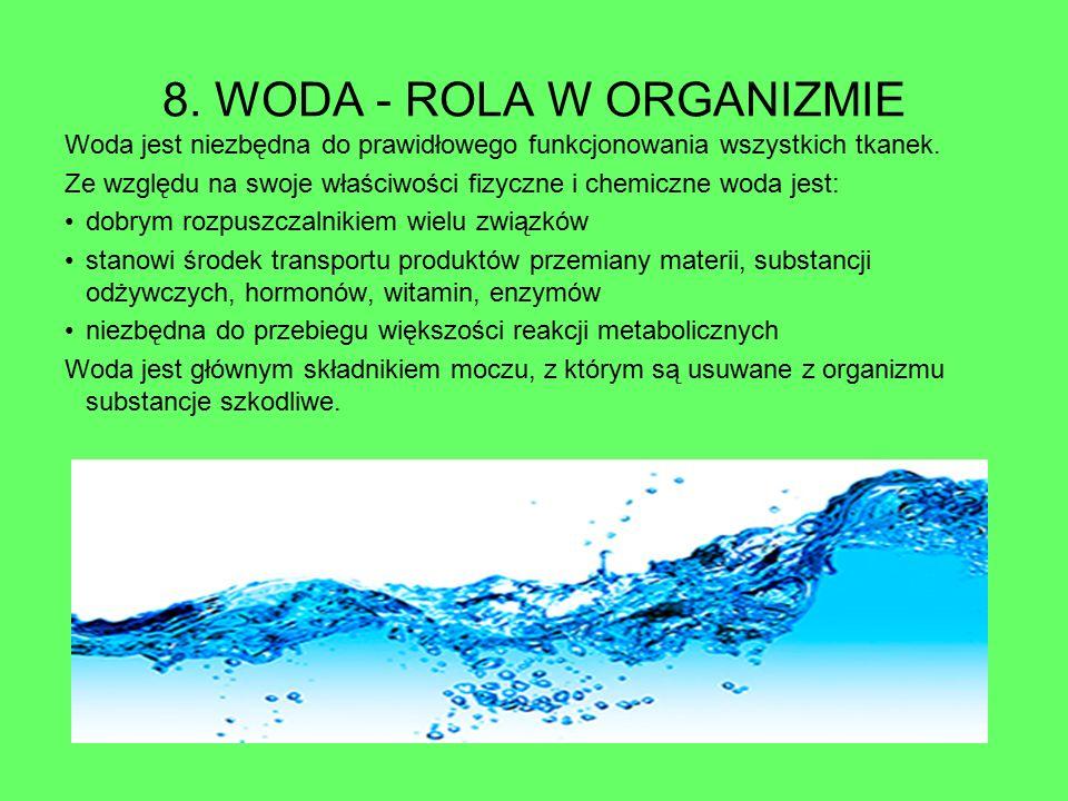 8. WODA - ROLA W ORGANIZMIE