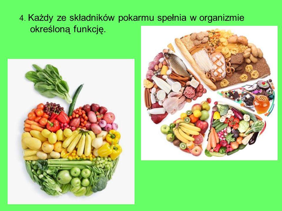 4. Każdy ze składników pokarmu spełnia w organizmie określoną funkcję.