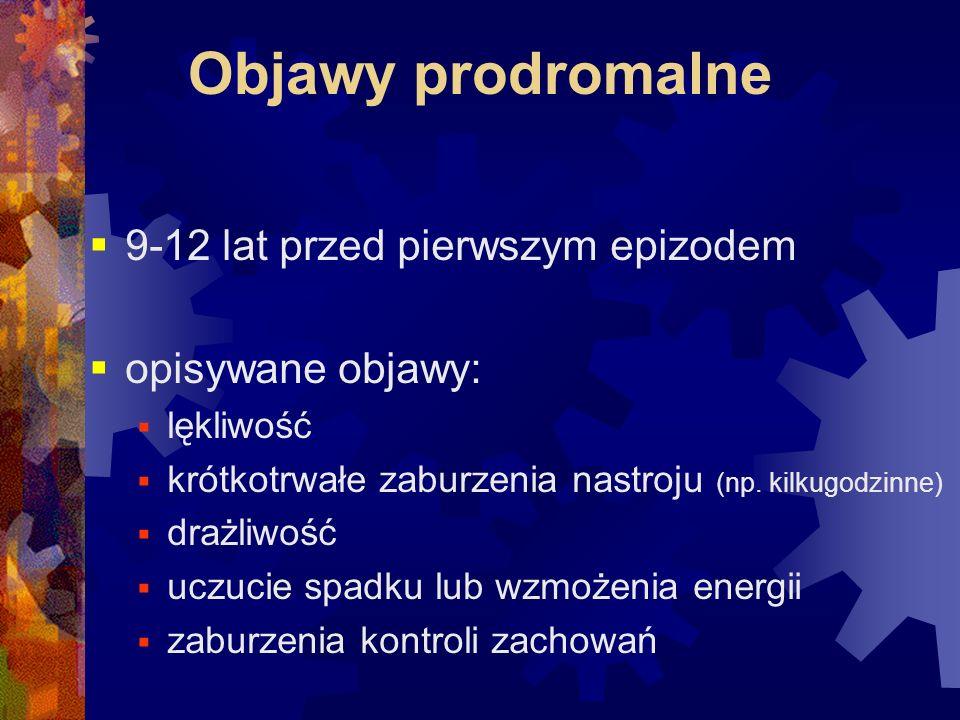 Objawy prodromalne 9-12 lat przed pierwszym epizodem opisywane objawy: