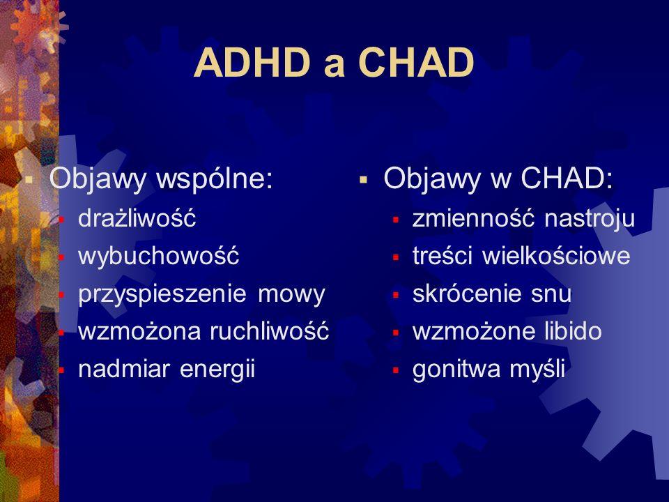 ADHD a CHAD Objawy wspólne: Objawy w CHAD: drażliwość wybuchowość
