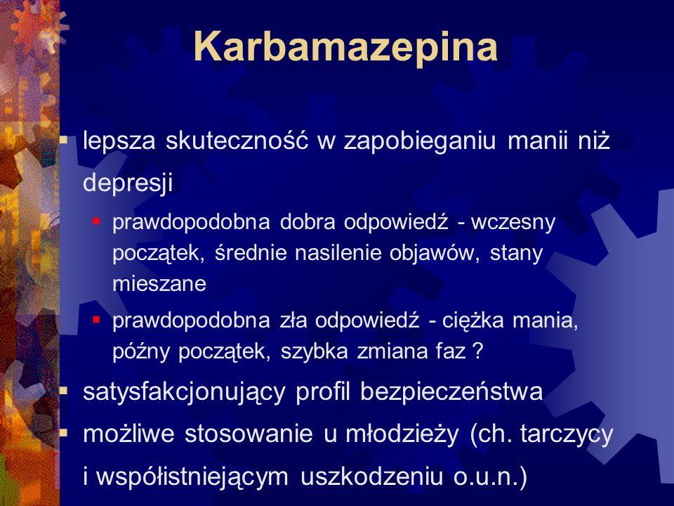 Karbamazepina lepsza skuteczność w zapobieganiu manii niż depresji