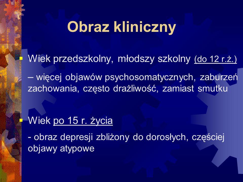 Obraz kliniczny Wiek przedszkolny, młodszy szkolny (do 12 r.ż.)