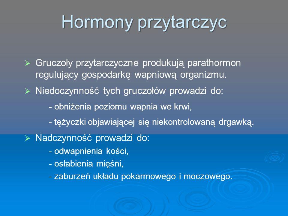 Hormony przytarczyc Gruczoły przytarczyczne produkują parathormon regulujący gospodarkę wapniową organizmu.