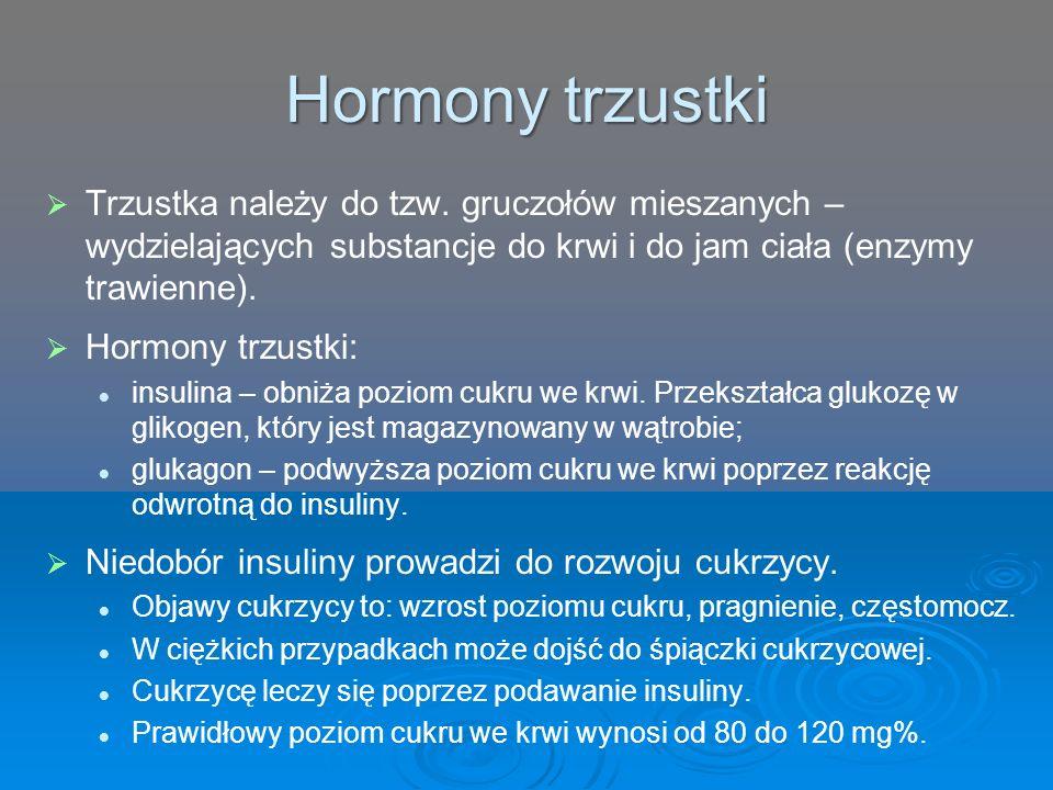 Hormony trzustki Trzustka należy do tzw. gruczołów mieszanych – wydzielających substancje do krwi i do jam ciała (enzymy trawienne).