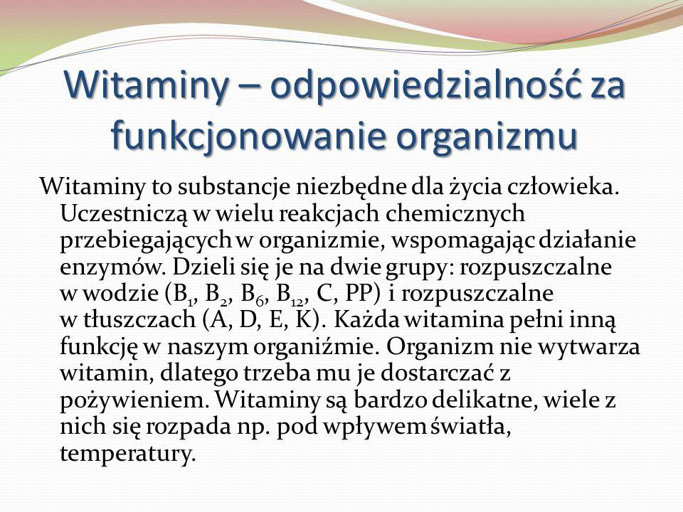 Witaminy – odpowiedzialność za funkcjonowanie organizmu