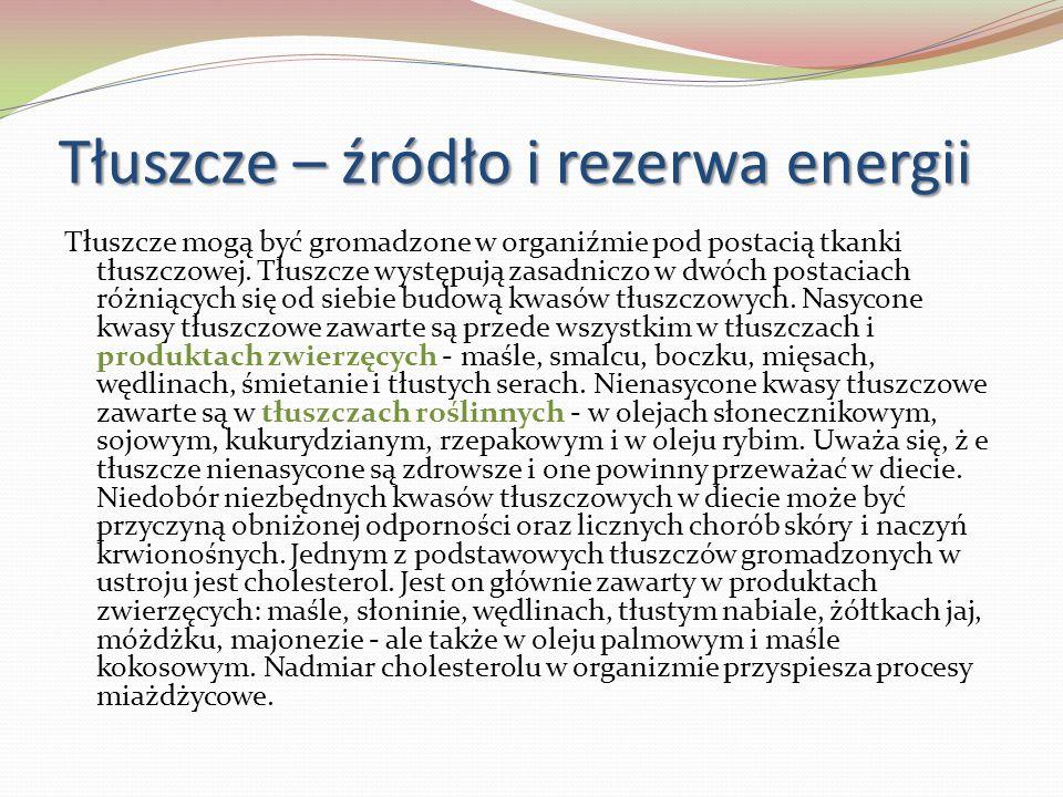 Tłuszcze – źródło i rezerwa energii