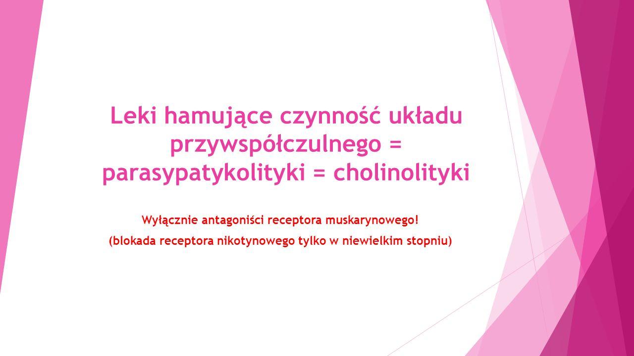 Leki hamujące czynność układu przywspółczulnego = parasypatykolityki = cholinolityki