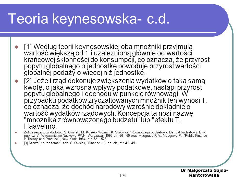 Teoria keynesowska- c.d.