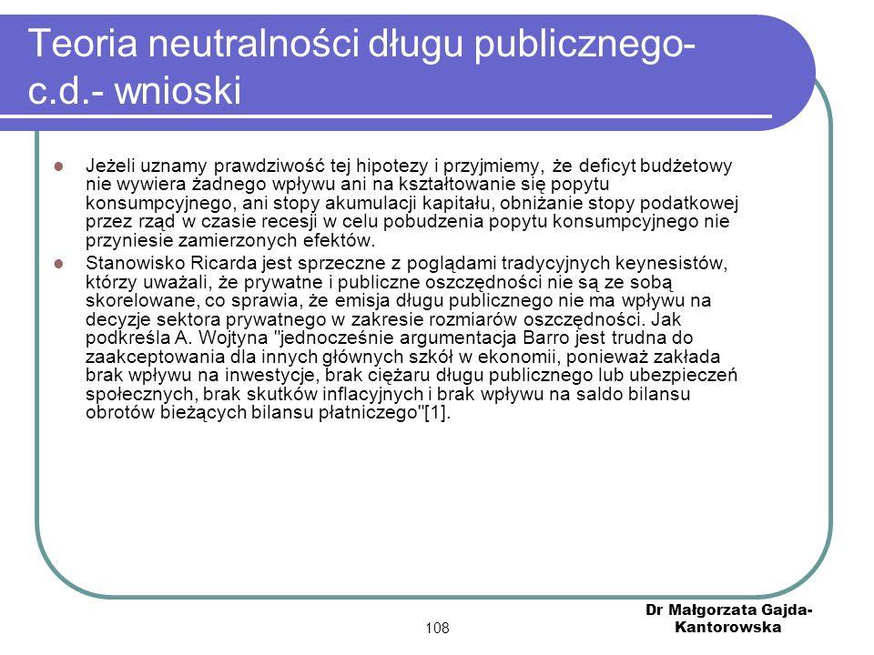 Teoria neutralności długu publicznego- c.d.- wnioski