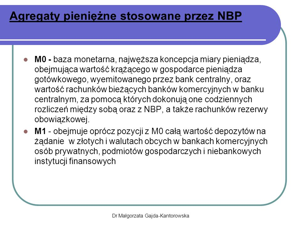 Agregaty pieniężne stosowane przez NBP