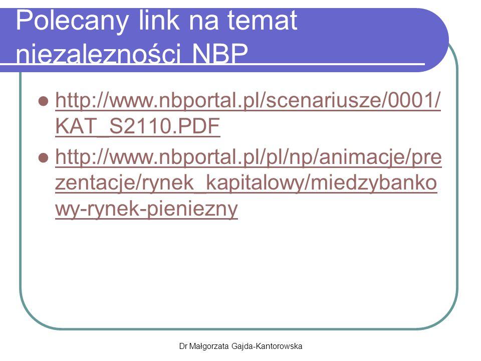 Polecany link na temat niezalezności NBP