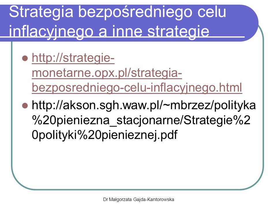 Strategia bezpośredniego celu inflacyjnego a inne strategie