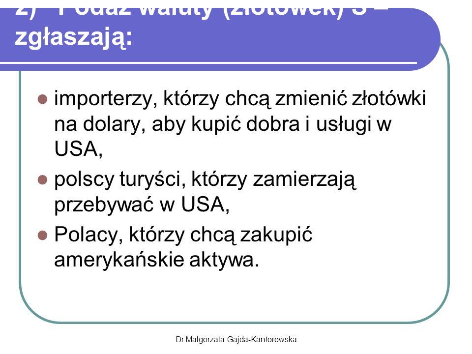 2) Podaż waluty (złotówek) S – zgłaszają: