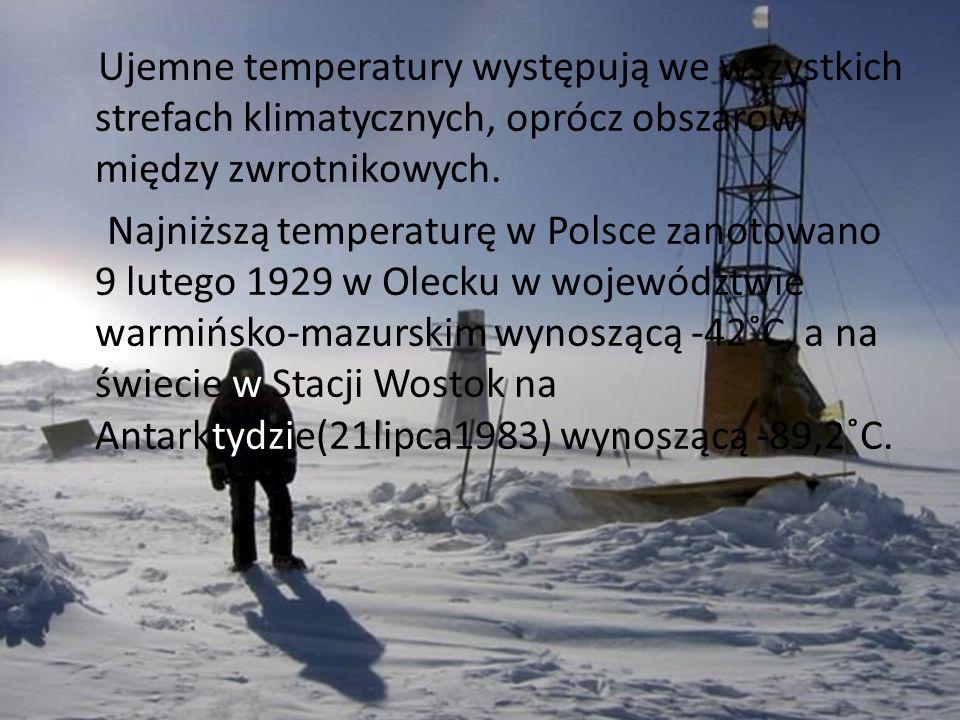 Ujemne temperatury występują we wszystkich strefach klimatycznych, oprócz obszarów między zwrotnikowych.