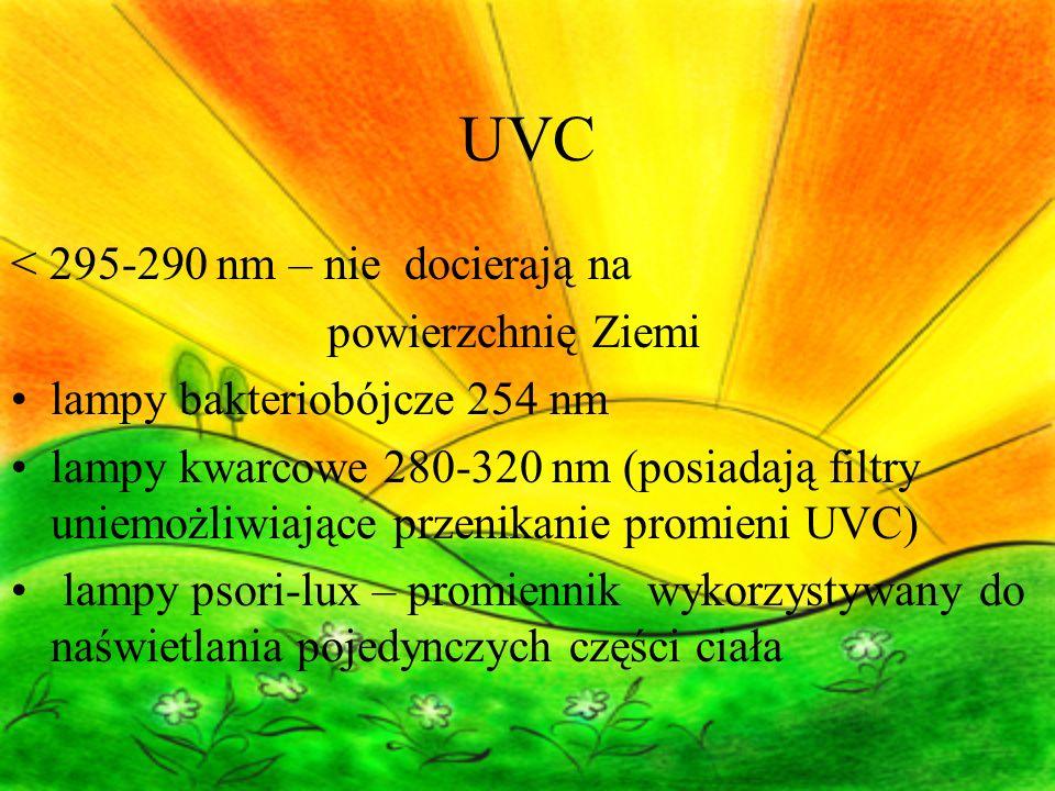 UVC < 295-290 nm – nie docierają na powierzchnię Ziemi