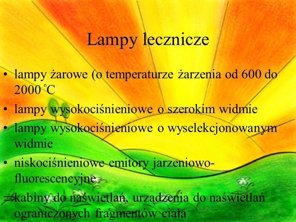 Lampy lecznicze lampy żarowe (o temperaturze żarzenia od 600 do 2000 ºC. lampy wysokociśnieniowe o szerokim widmie.