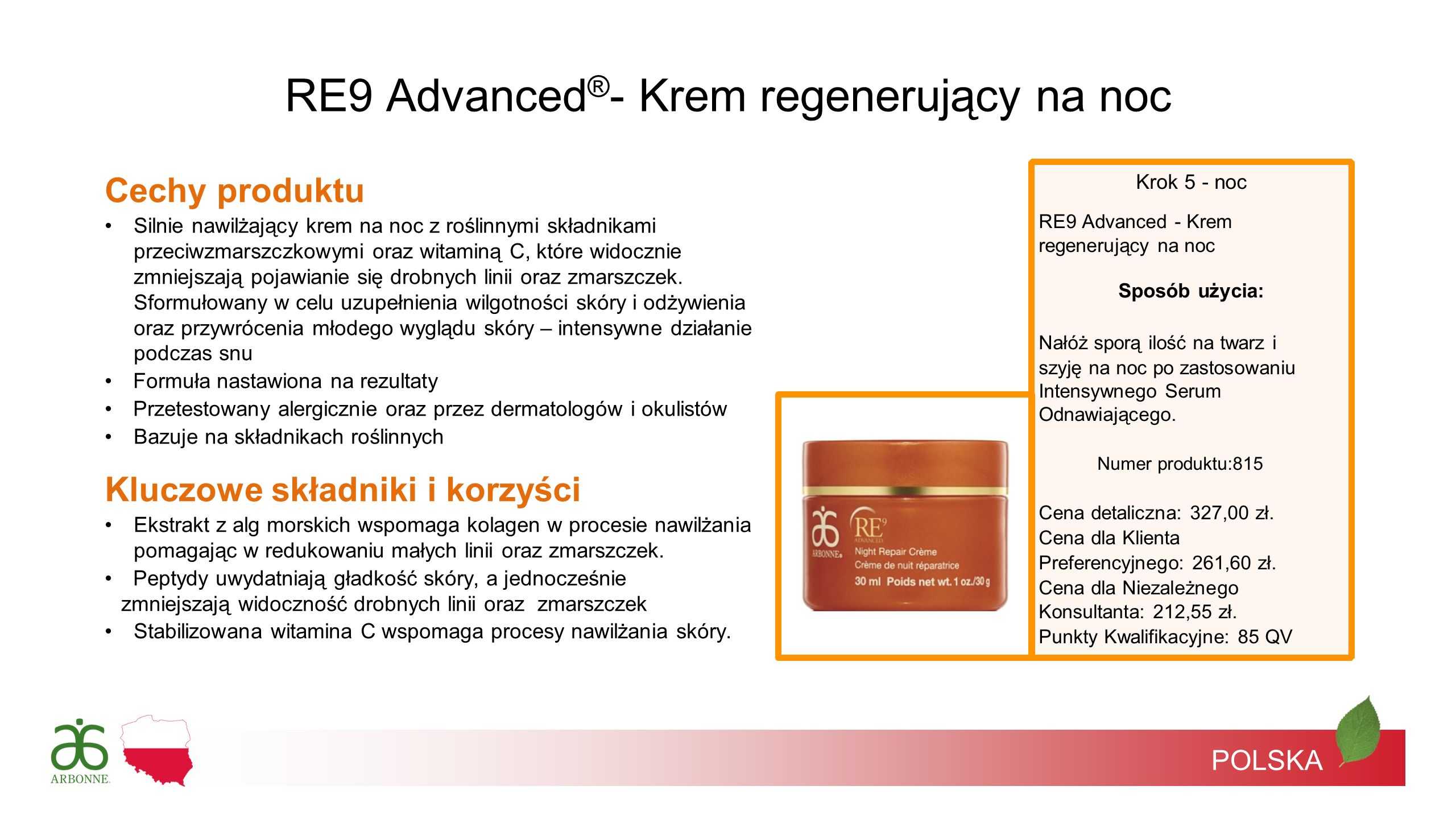 RE9 Advanced®- Krem regenerujący na noc