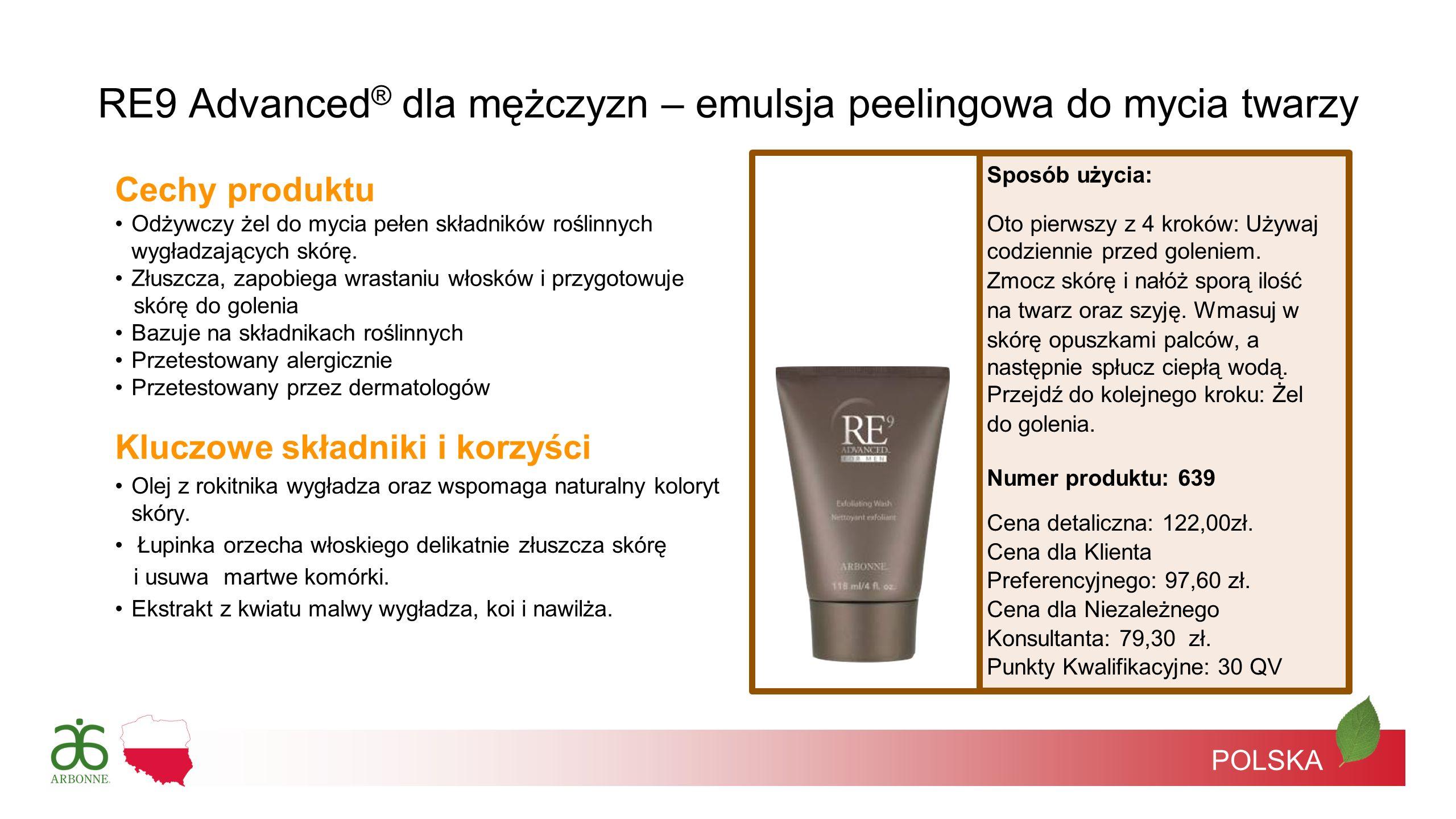 RE9 Advanced® dla mężczyzn – emulsja peelingowa do mycia twarzy