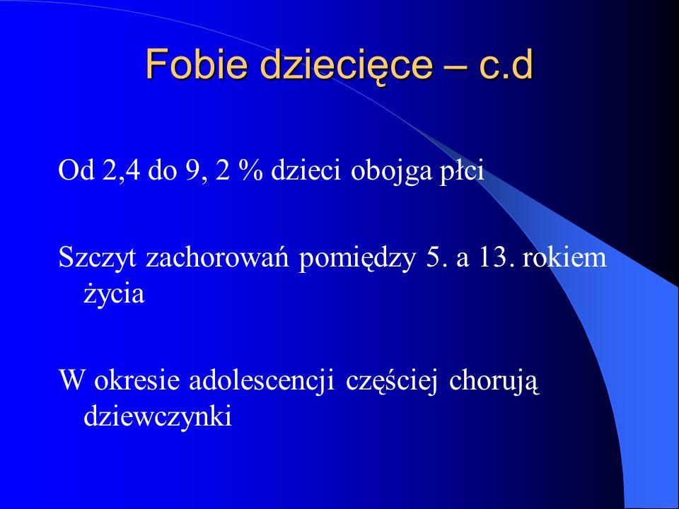 Fobie dziecięce – c.d Od 2,4 do 9, 2 % dzieci obojga płci
