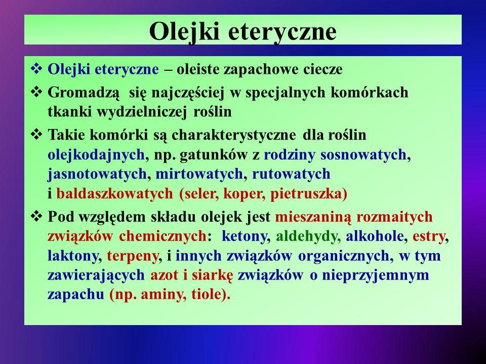 Olejki eteryczne Olejki eteryczne – oleiste zapachowe ciecze