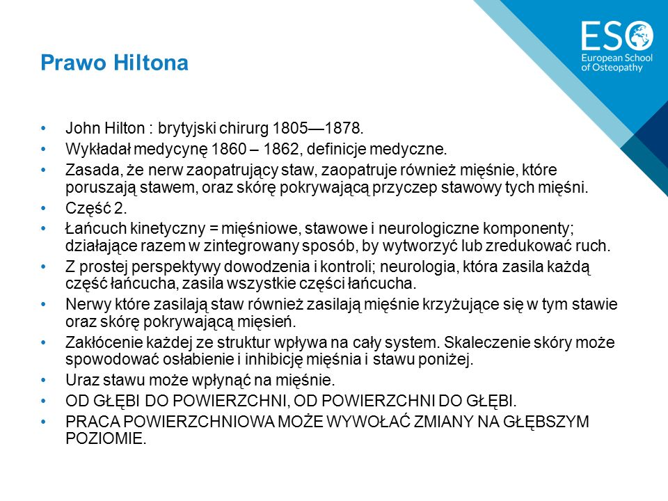 Prawo Hiltona John Hilton : brytyjski chirurg 1805—1878.
