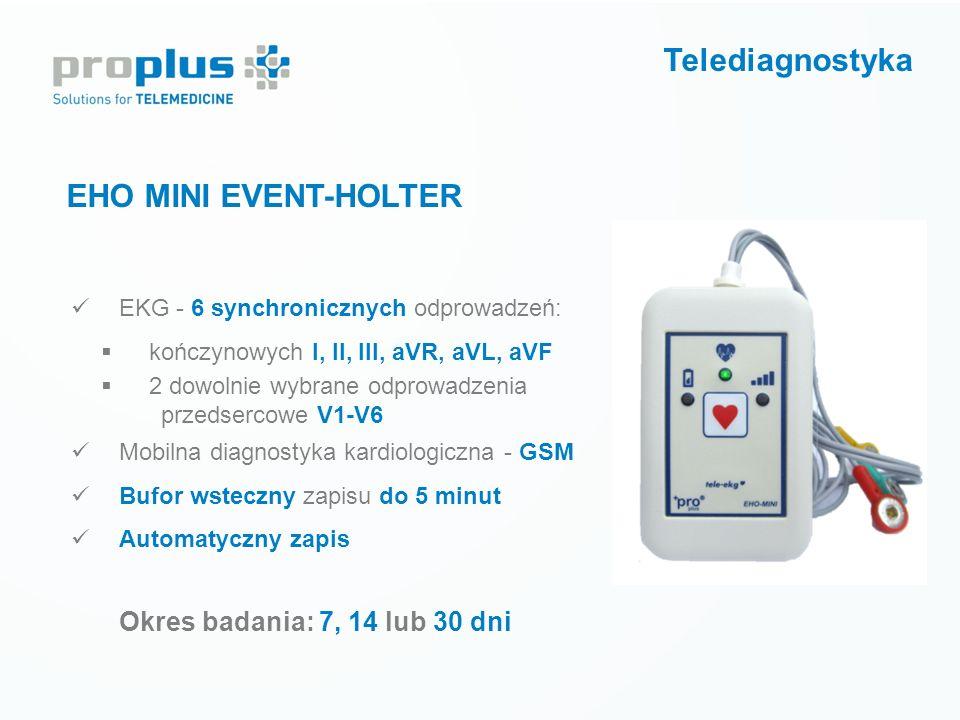 Telediagnostyka EHO MINI EVENT-HOLTER Okres badania: 7, 14 lub 30 dni