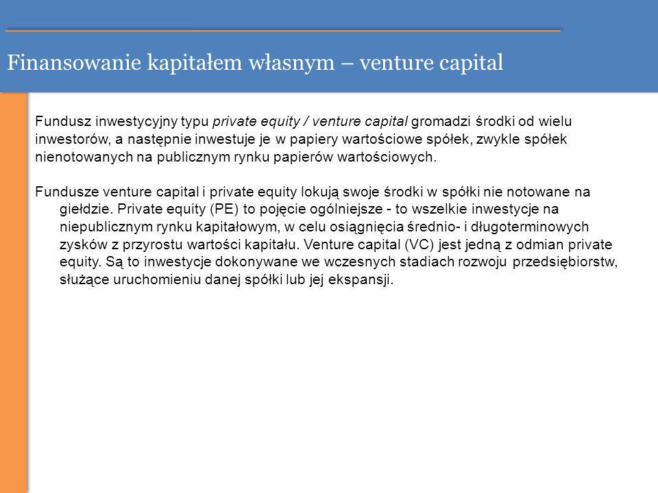 Finansowanie kapitałem własnym – venture capital