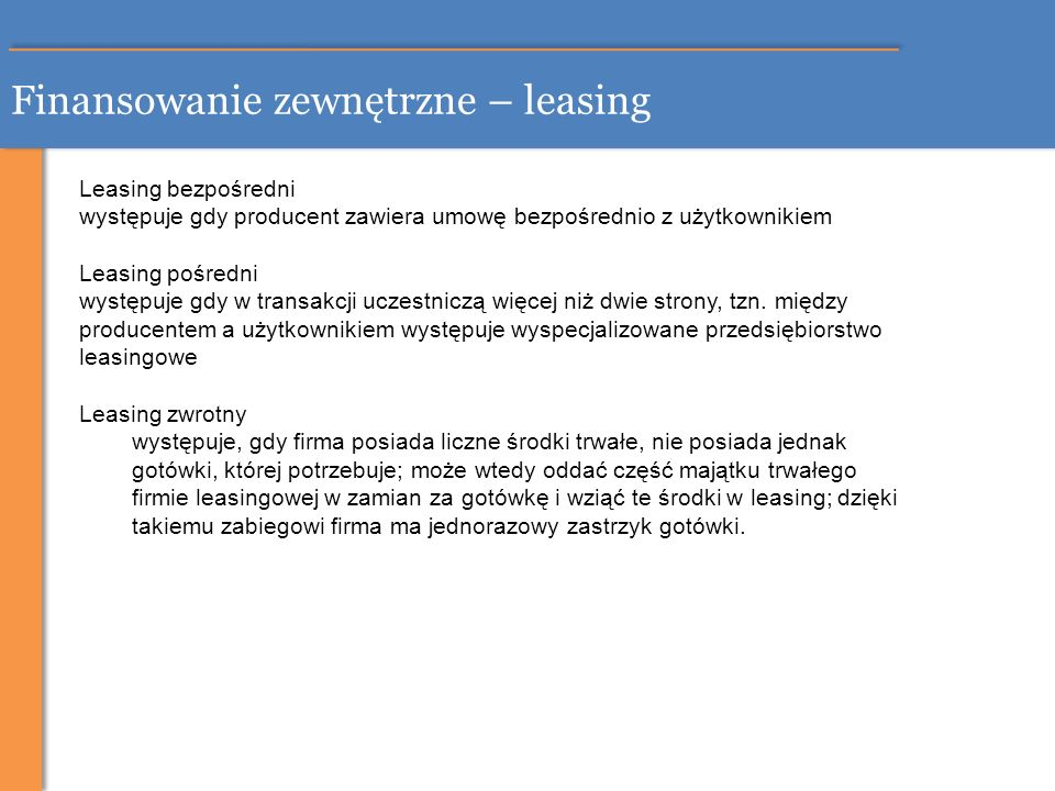 Finansowanie zewnętrzne – leasing
