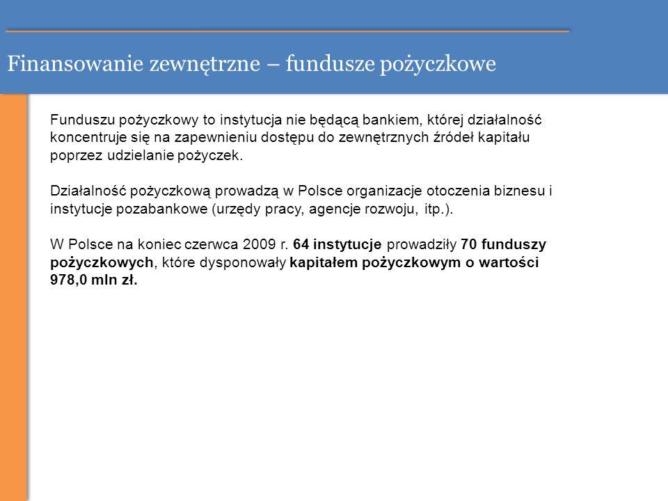 Finansowanie zewnętrzne – fundusze pożyczkowe