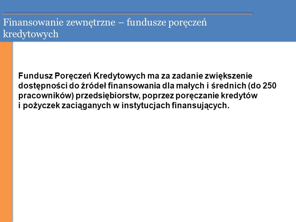 Finansowanie zewnętrzne – fundusze poręczeń kredytowych