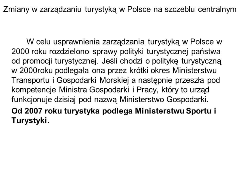 Zmiany w zarządzaniu turystyką w Polsce na szczeblu centralnym