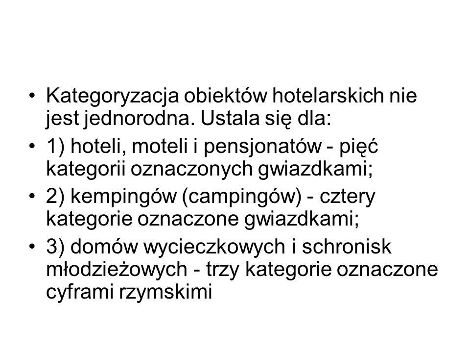 Kategoryzacja obiektów hotelarskich nie jest jednorodna