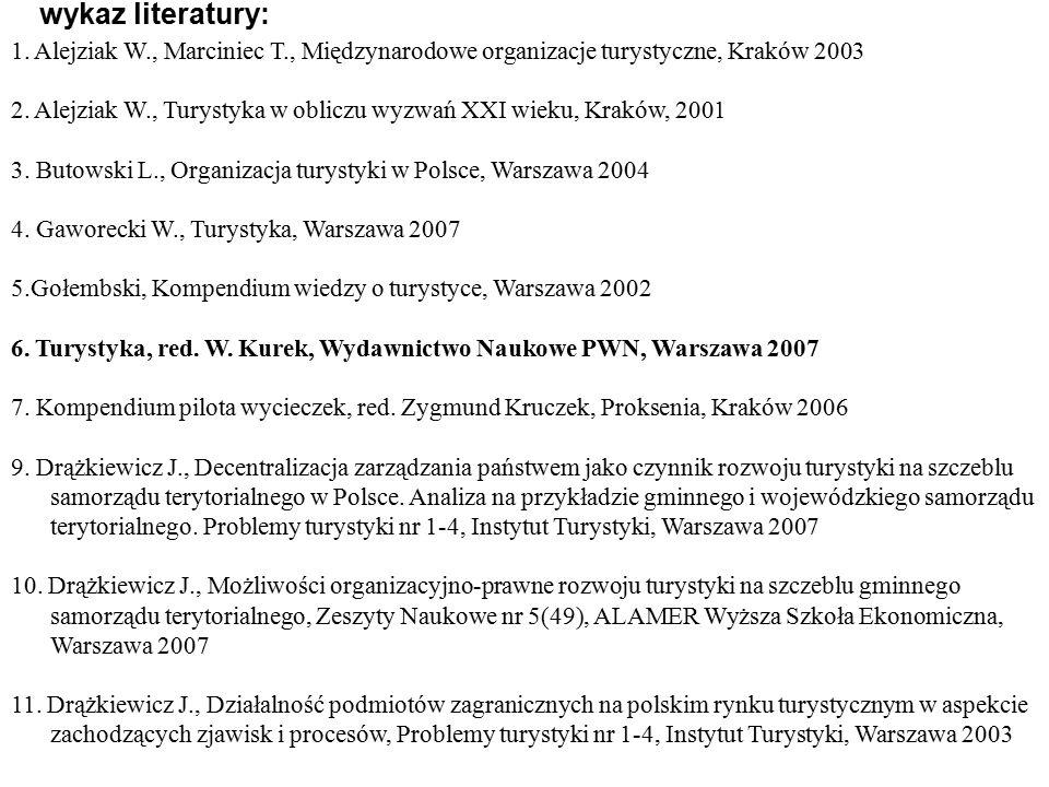 wykaz literatury: 1. Alejziak W., Marciniec T., Międzynarodowe organizacje turystyczne, Kraków 2003.