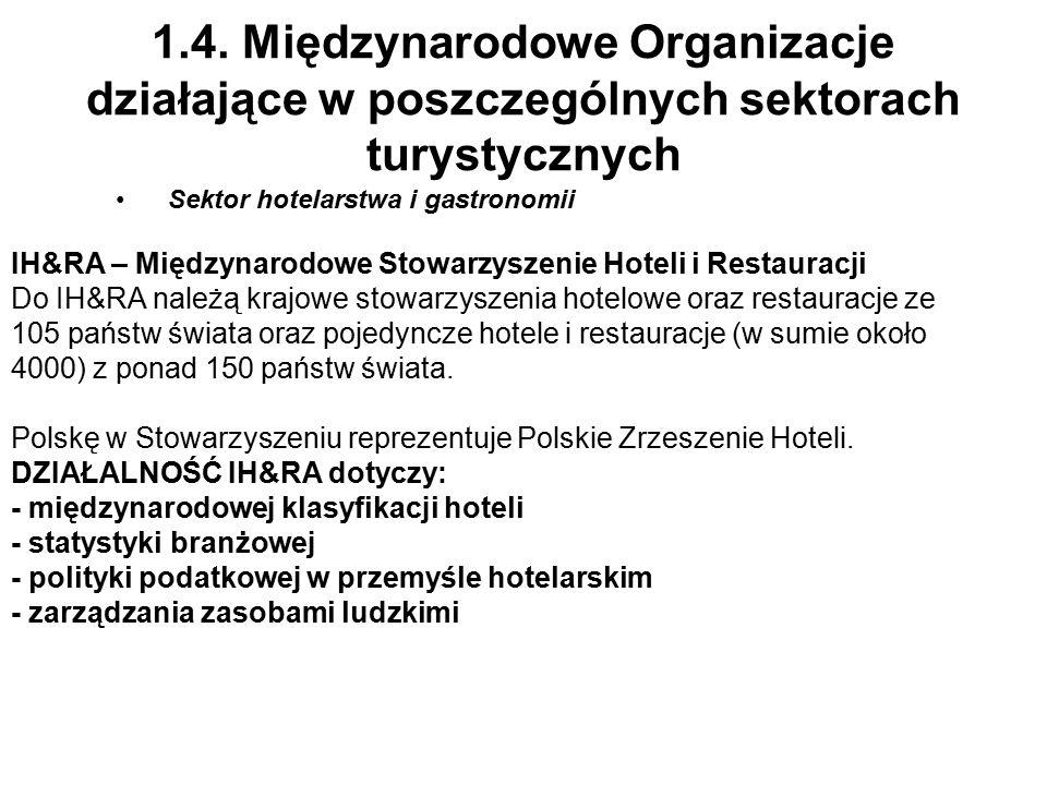 1.4. Międzynarodowe Organizacje działające w poszczególnych sektorach turystycznych