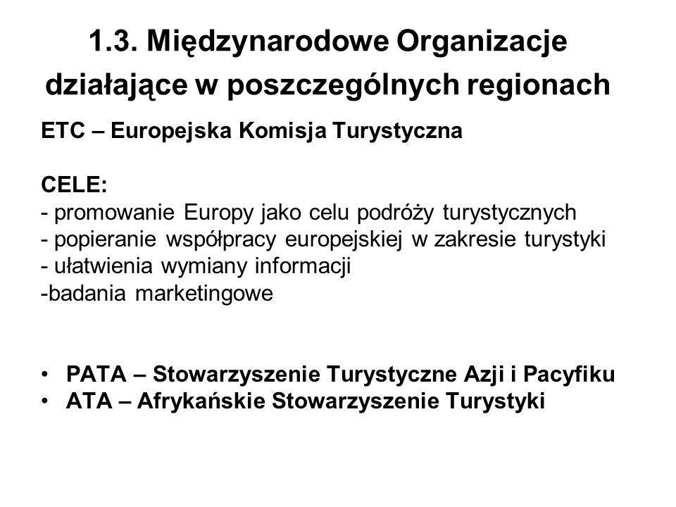 1.3. Międzynarodowe Organizacje działające w poszczególnych regionach