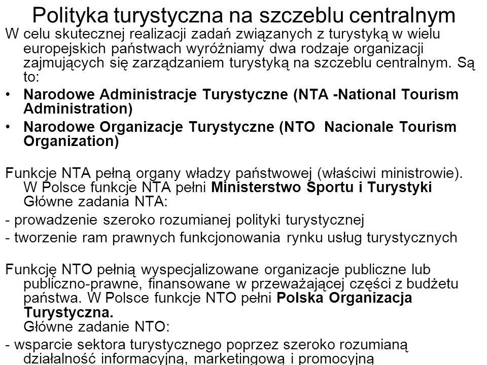 Polityka turystyczna na szczeblu centralnym
