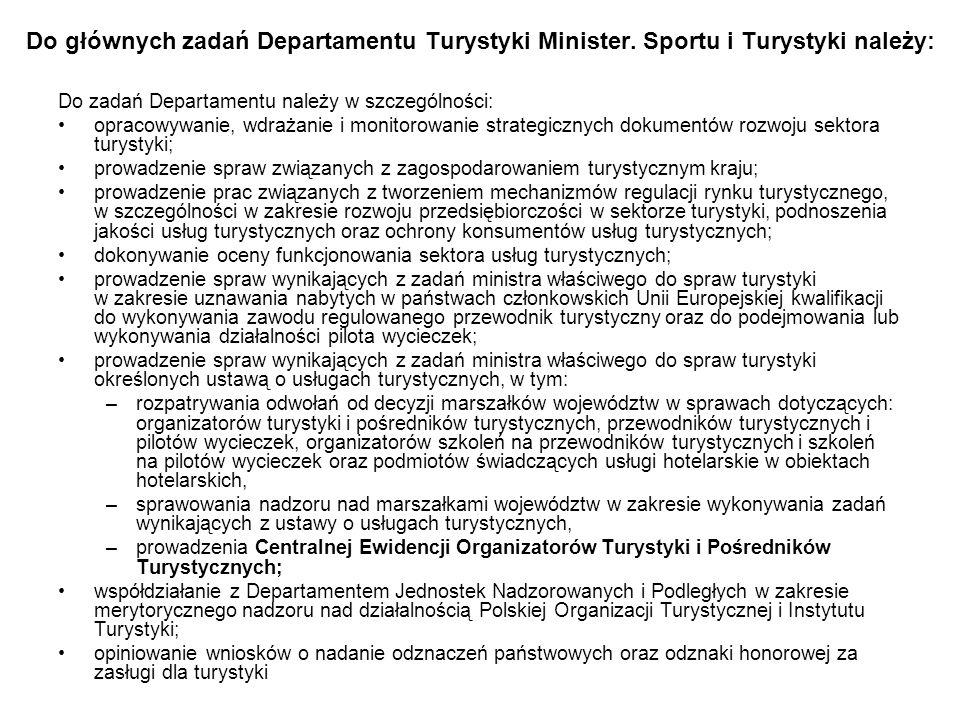 Do głównych zadań Departamentu Turystyki Minister
