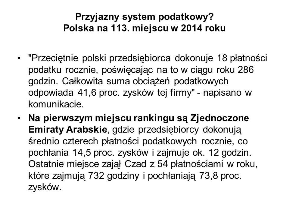 Przyjazny system podatkowy Polska na 113. miejscu w 2014 roku