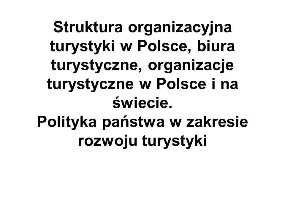 Struktura organizacyjna turystyki w Polsce, biura turystyczne, organizacje turystyczne w Polsce i na świecie.