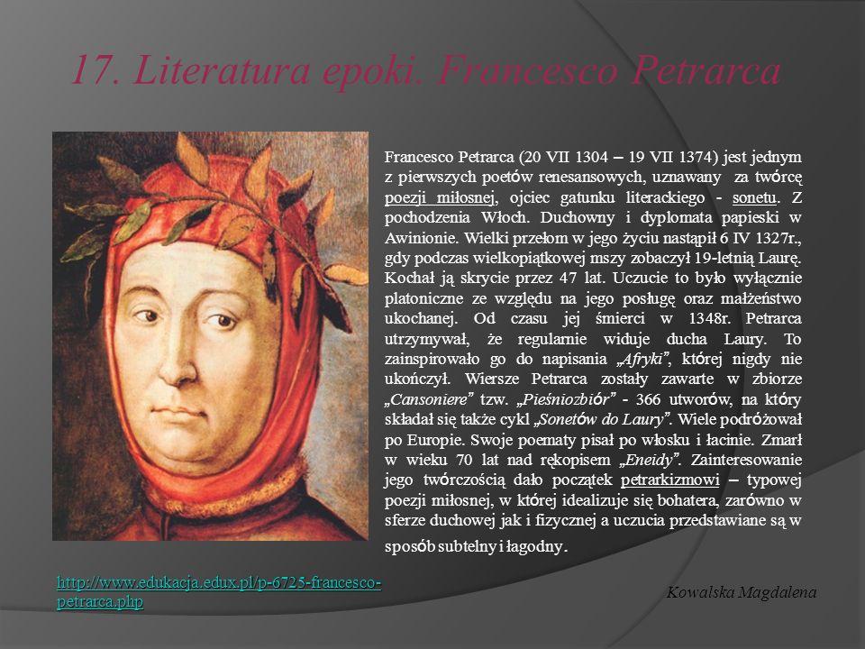 17. Literatura epoki. Francesco Petrarca
